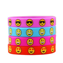 Emoji Smile Emoticon Silicone Wristband Bracelets Party Gifts Prizes Favors for Kids