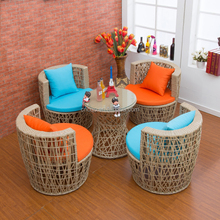 Wholesale Outdoor Resort Wicker Rattan Furniture Patio Set / Modern Coffee Shop Table And Chair Furniture (Z388)