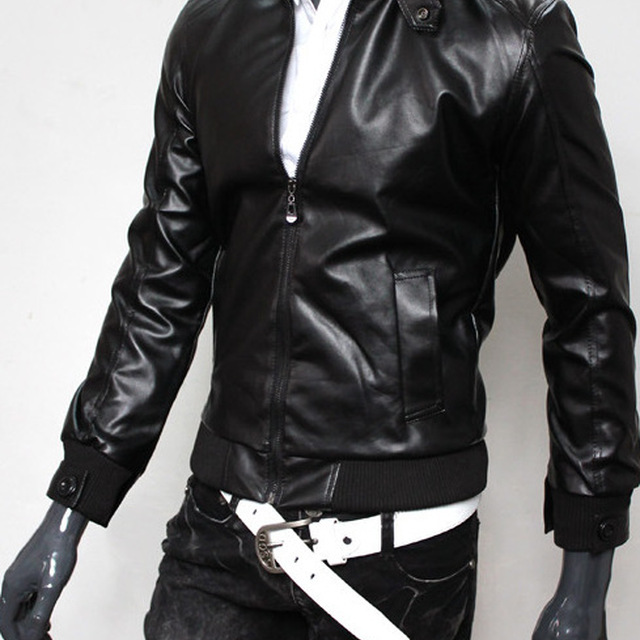Online Hot Sale Stylish Cheap Black Faux Leather Motorcycle Jacket For Men