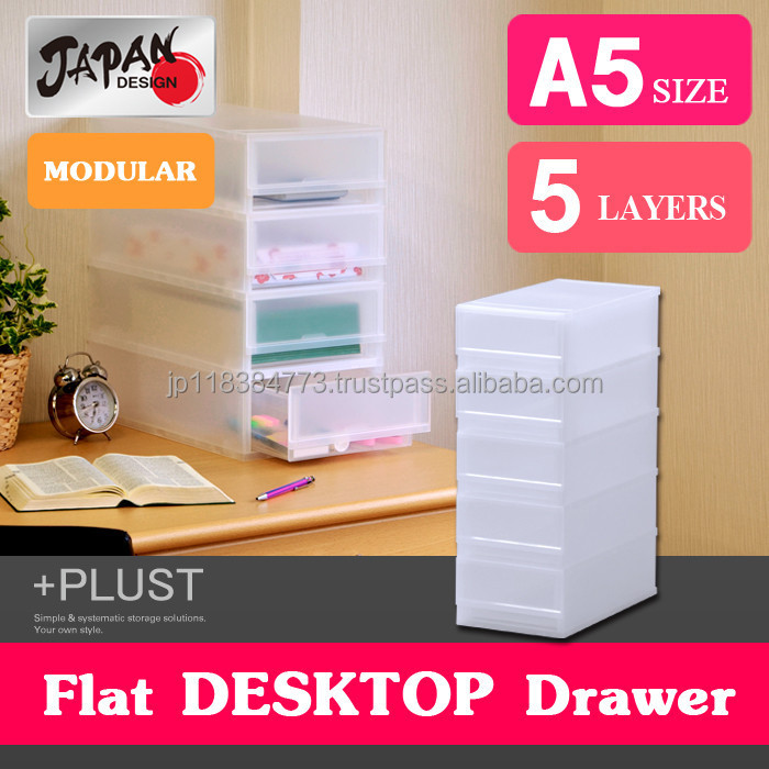 Storage box A5 Japan made modular Storage case file box plastic drawer case stackable plastic case with handle PLUST FRA505