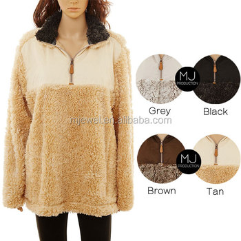Factory hot selling women jacket frosted quarter zip uplander sherpa fleece pullover wholesale