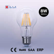 New products led lights A60 filament bulb 8W, A19 LED filament bulb dimmable, LED filament bulb E27