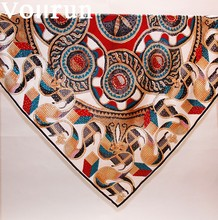 Retro 90cm Square Silk Satin Islamic Scarf
