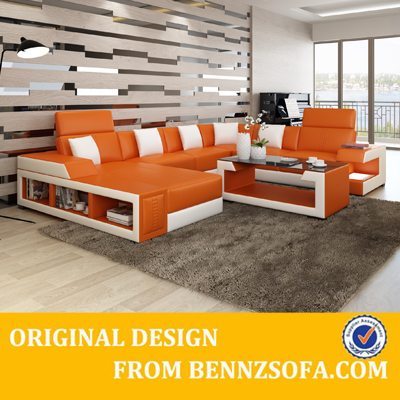 Modern leather sectional sleeper sofa with chaise