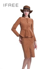 China Manufacturer Flounced Corduroy Fabric Office Short Split Lady Dress Suits