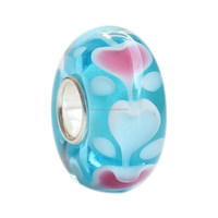 Wholesale Turquoise Ocean Heart Love Murano Glass Bead 925 Sterling Silver Charm For European Bracelets