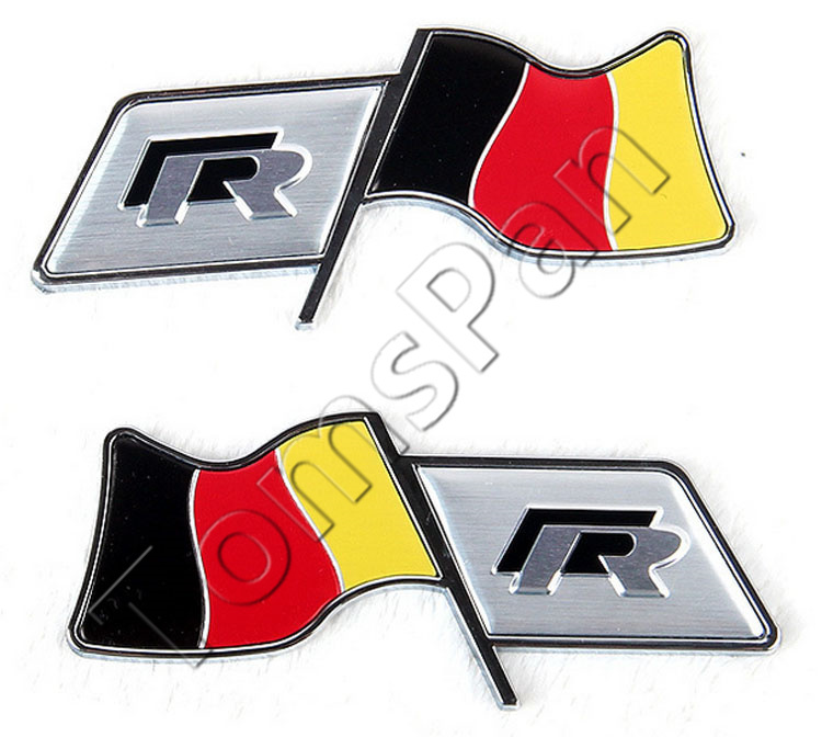 Hot sale 2pcs/lot aluminum plating Germany flag R emblem racing fender car sticker for vw volkswagen cars tank tail decoration