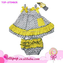 2015 wholesale girls clothing set 100% cotton chevron outfit for girls toddler swing top ruffle bloomers 2 pcs suit
