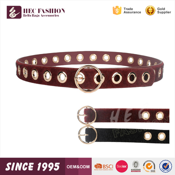 HEC Fashion Designed Slim Metal Punched Leather Belt Made In China