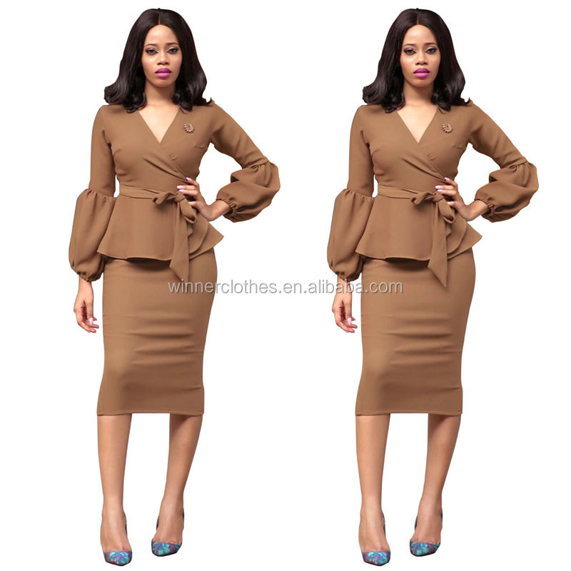 Long sleeve elegance office lady suits two pieces dresses for women