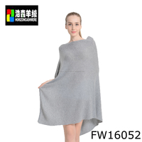 High Quality Women Knit Pure Cashmere Poncho, Ladies Grey Fashionable Knit Poncho