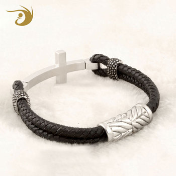 Wholesale Stingray Leather Bracelet Cross Bracelet for Christian