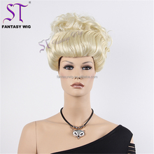 9 Years Golden Supplier White Women Synthetic Curly Blonde Updo Wig For Mannequin