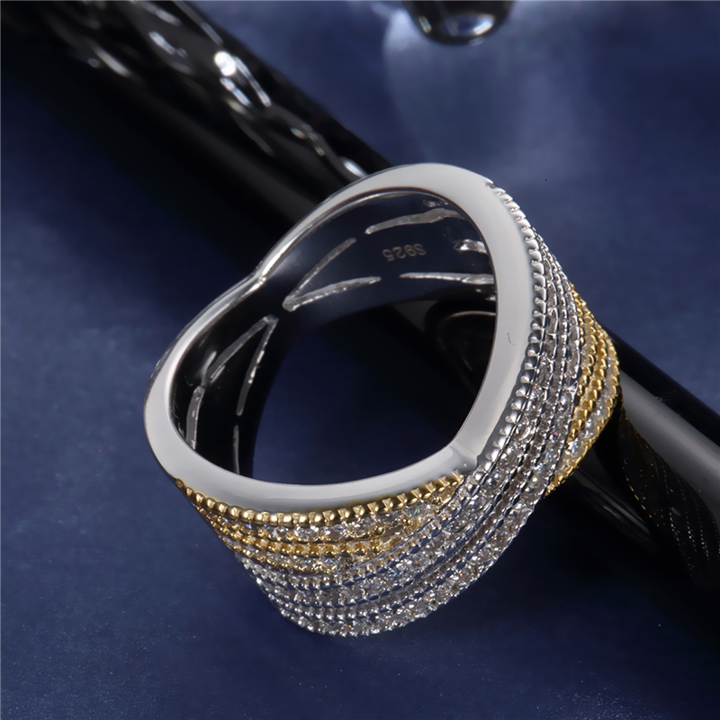 2016 Fashion Zircon Paved Setting 925 Silver Wedding Ring