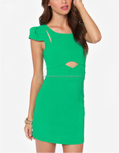 CHEFON Alluring pleated cap sleeve cute cutout shoulder fitted dark green dress