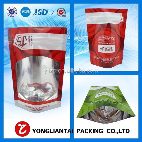 Food grade ziplock seasoning stand up plastic packaging bag with clean window/stand up zipper bag for sweet corn seed