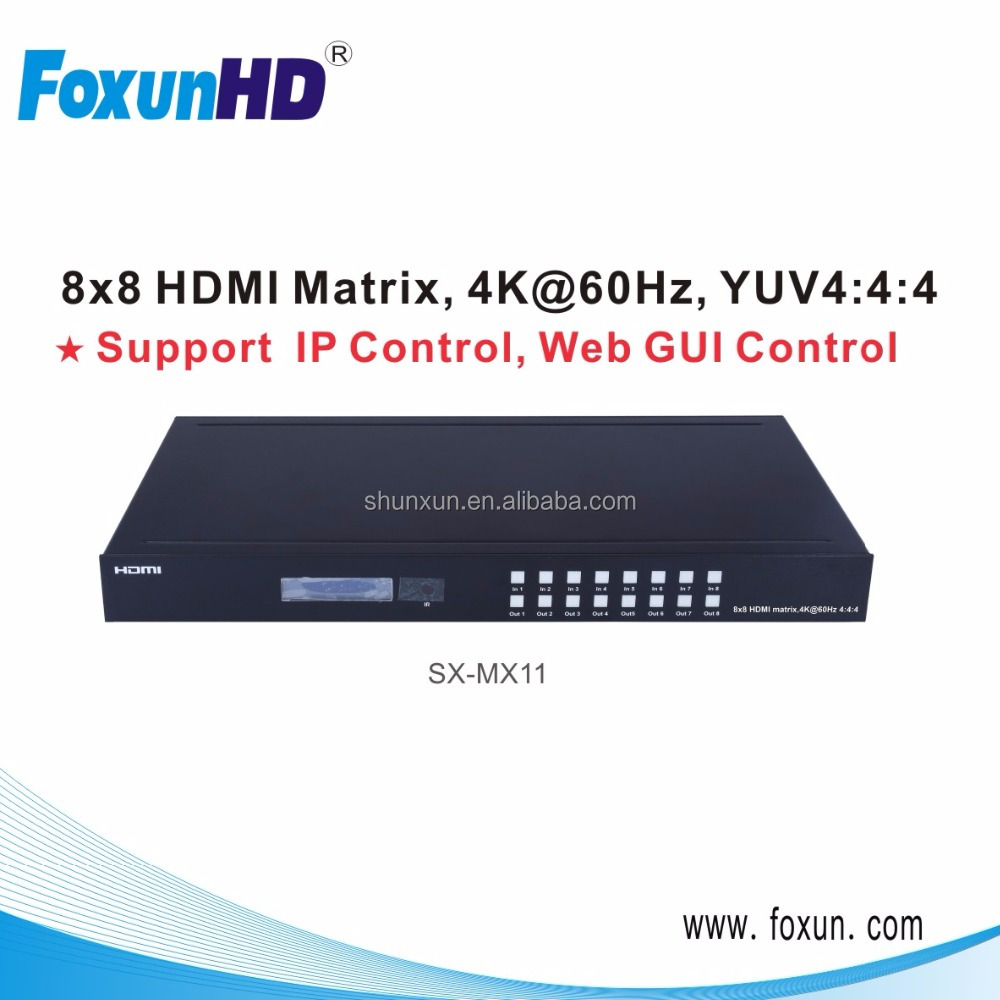 8X8 HDMI Matrix Switcher 4K 60HZ Ultra HD 8 Displays HDMI 2.0 Supports HDCP 2.2 / 1.4, EDID, DTS