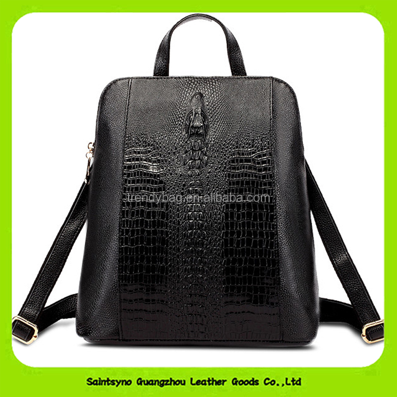 16658 European and American fashion leather men's bags Crocodile grain backpack trends on genuine leather backpack