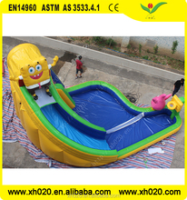 Giant spongebob inflatable water slide with pool