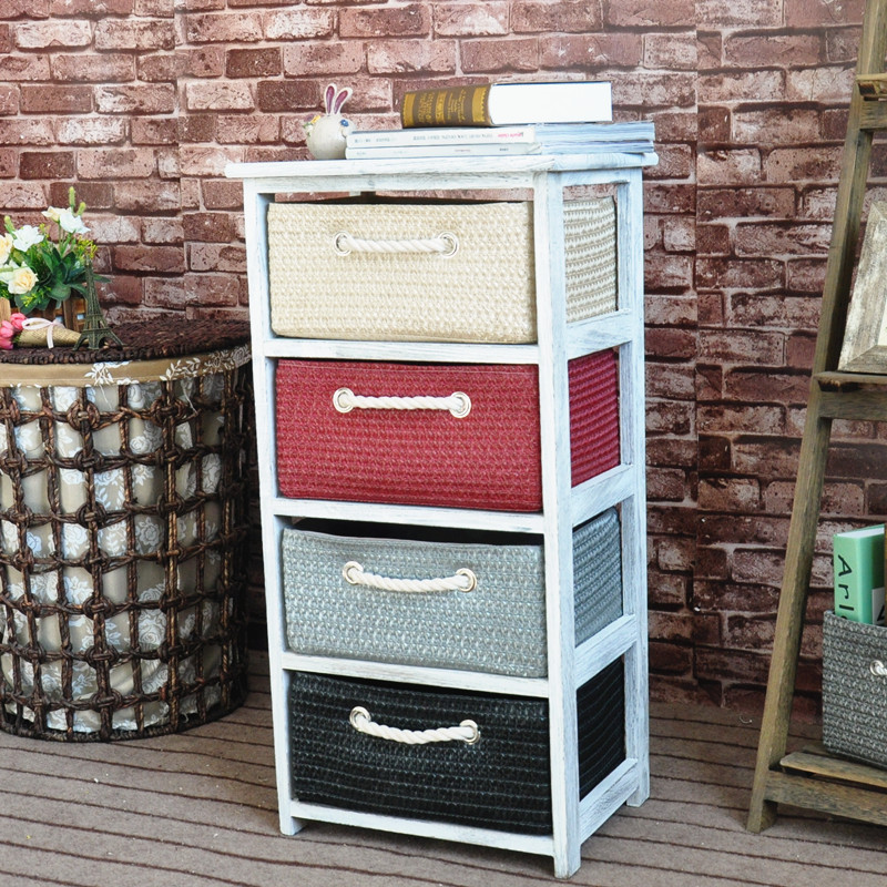 Home furniture wooden cabinet with willow /rattan/straw baskets drawers