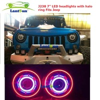"J238 star style 7"" round HID/led headlight with led halo ring angle eyes for jeep wrangler JK CJ TJ LJ"