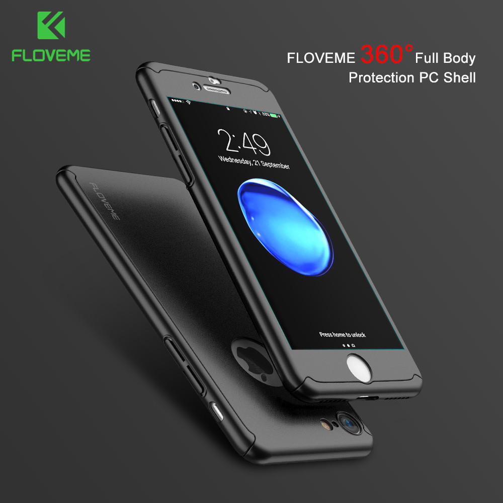 2017 FLOVEME 360 Degree Full Protected PC Phone Cover Case Thin Funky 360 Phone Case For Iphone 7/7plus With Tempered Glass