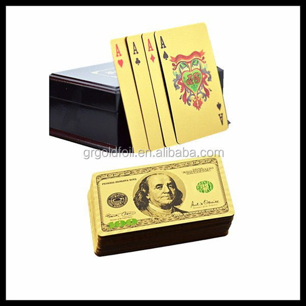 Golden printable playing cards 100 US dollar Benjamin Franklin playing cards