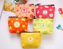wholesale fancy canvas Zipper small coin purse wallet cartoon fruit printing promotional gift cute mini cotton coin holder