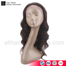 adjustable strap in back large cap wavy extra heavy finer lace long ombre brown color human hair lace front wig