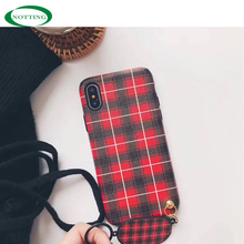 2018 korea new style plaid fabric cell phone back covers with pendant