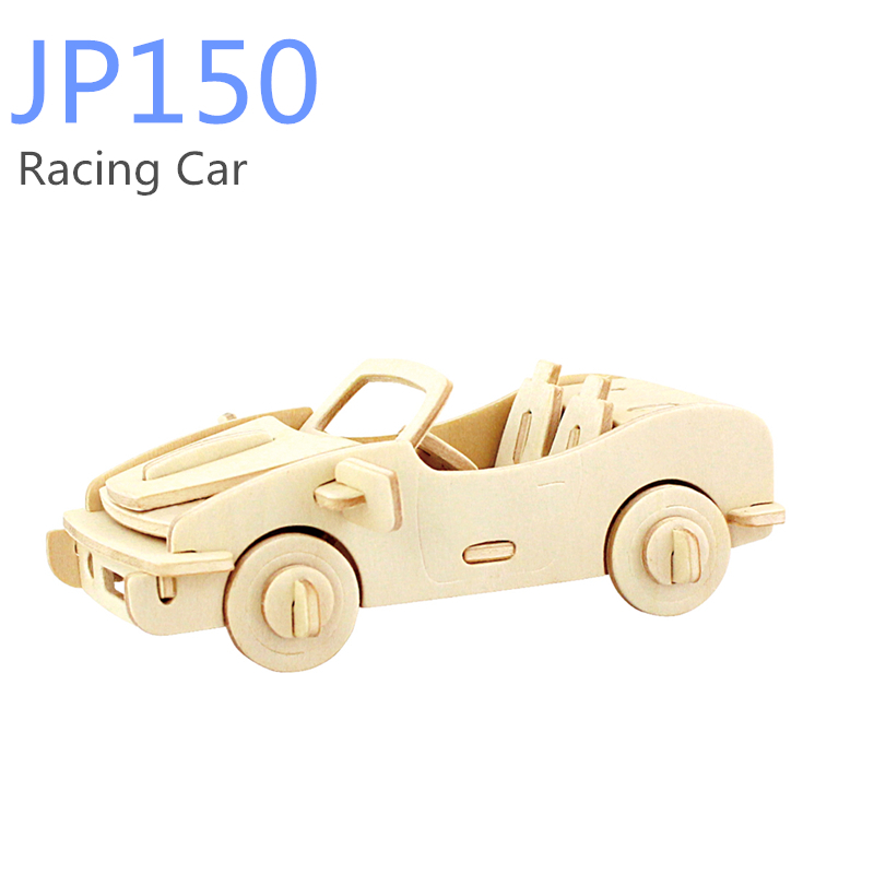 3D Wooden Puzzles DIY Racing Car Toys Educational Games