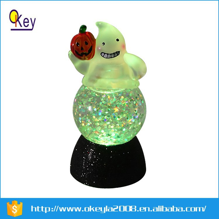 Battery operated color changing LED snow globe for hallowmas decoratiom ghost