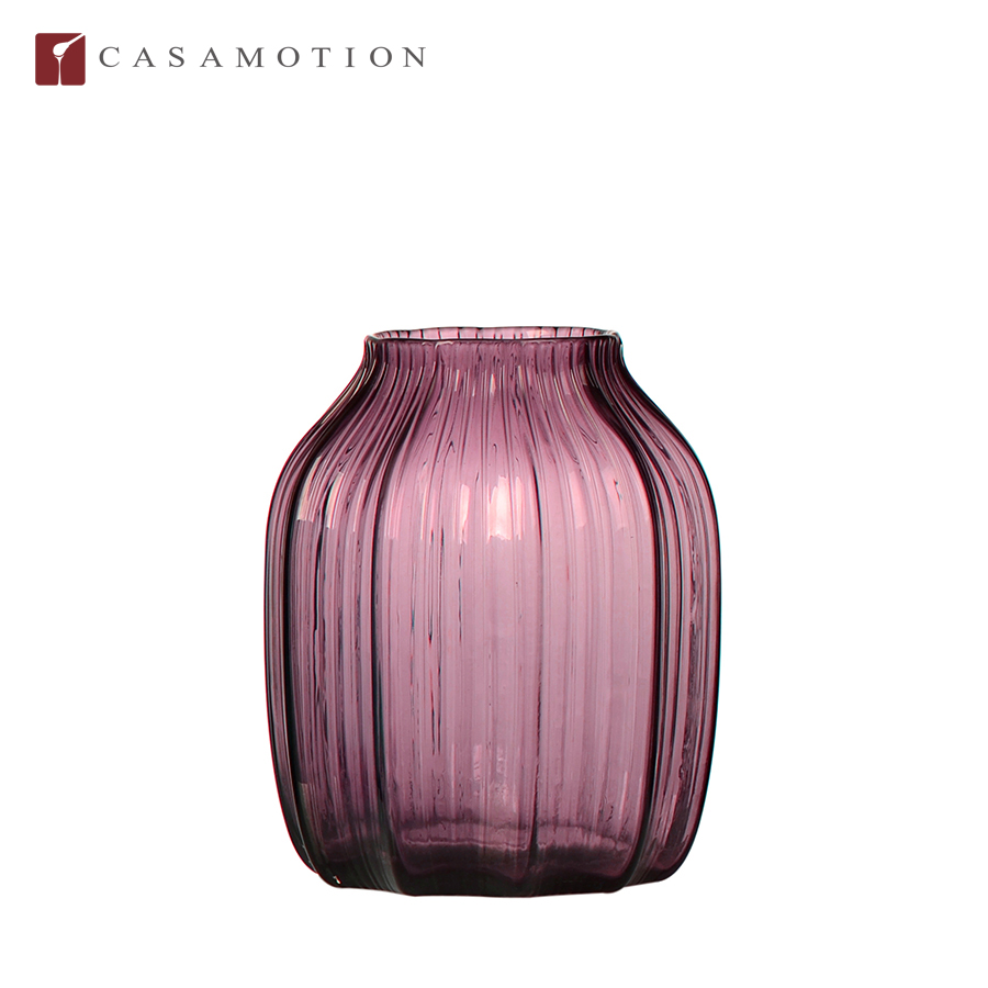 Wholesale Casamotion Short Ribble European Style Purple Home Interior Glass Flower Vase for Decoration