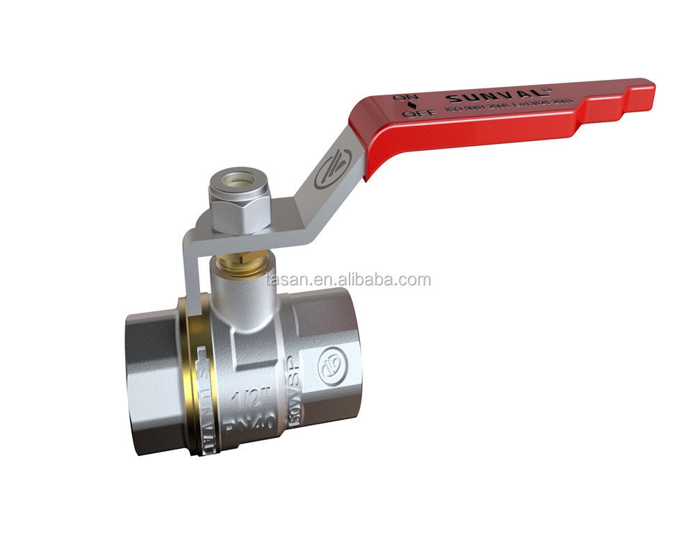 S1175 00-1 new style BSP 600 wog high quality red long handle Brass Ball cock Valve