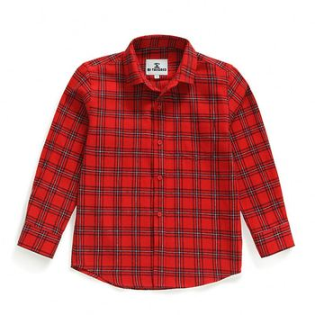 BOY KID BUTTON DOWN RED PLAID FLANNEL SHIRT