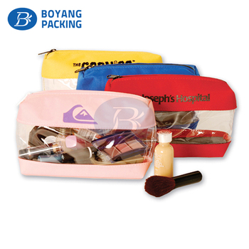 Polyester Travel cosmetic makeup pouch transparent toiletry Bag