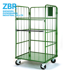 Nesting Collapsible Laundry Warehouse Roller Cargo Cage Transport Trolley Carts