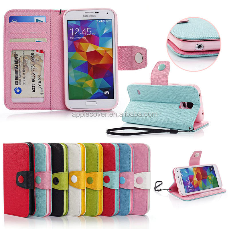Colorful magnetic flip Leather phone cover Wallet Case For Samsung S5 , for samsung galaxy S5 case