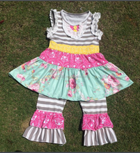 2016Newest children floral printed ruffled outfit halter knot dress top &flower capris pants set baby super cute summer outfit
