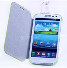 Green color flip cover for samsung galaxy note s4/i9500 pc+pu case