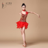 Adult Red Yellow Blue 3 color Ballroom Performance Latin Dance Dress 3 colors Shot Sleeve Skirt elastic dress