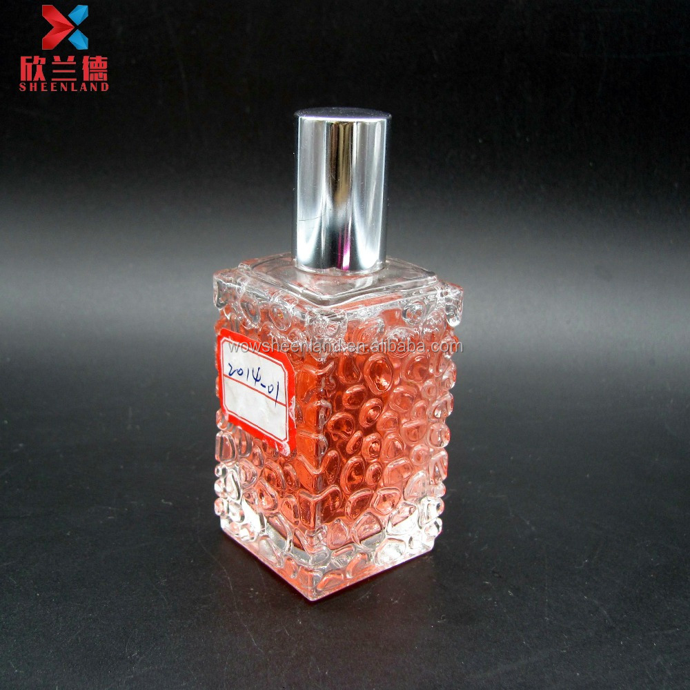 30ml embossed square empty diffuser desgin your own glass perfume bottle with <strong>spray</strong>