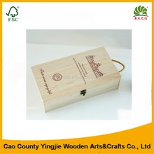 Custom unfinished cheap wooden wine box,2 bottles wine gift packing box