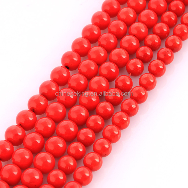 Dyed imitation red coral gemstone strand cheap round natural stone beads 6-12 mm natural stone beads