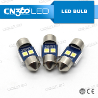2pcs 3030 SMD White 28mm LED Festoon Dome License Plate Light Car Bulb