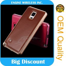 Metal leather case for samsung note 4 cover, for samsung galaxy note 4 case