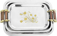 Flower design serving trays 3pcs sets stainless steel trays with 2 handles
