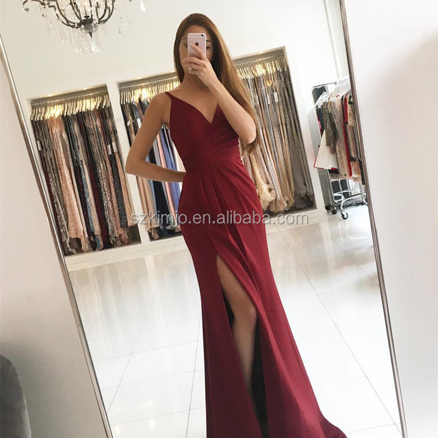 2018 V Neck Burgundy Chiffon Sexy Prom Dresses Long Cheap Bridesmaid Dress