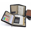 Paper Notebook With Caculator/Loose Leaf Binding Notebook With Zipper /Custom PU Leather Cover Notebook