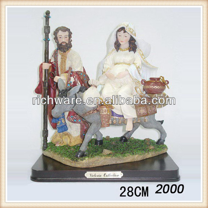 "Resin Josephs Studio La Posada ""The Lodging"" Figure-Joseph with Mary Riding on Donkey on their way to Bethlehem"
